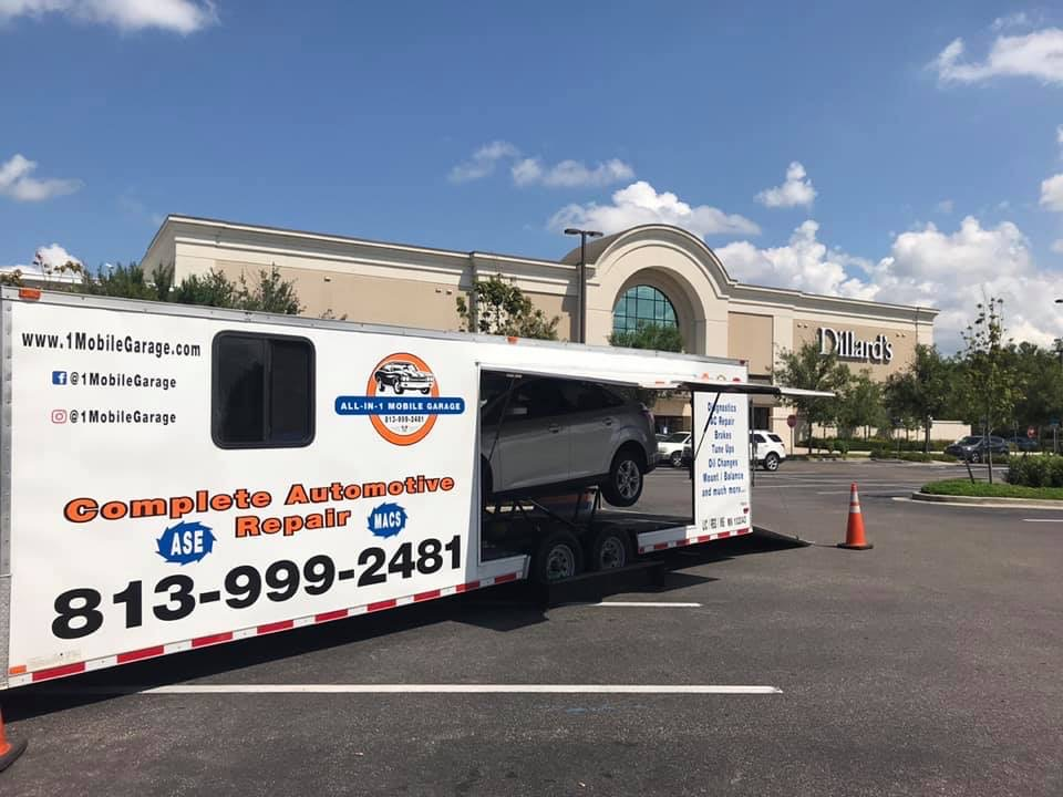 auto repair center set up at a shopping center